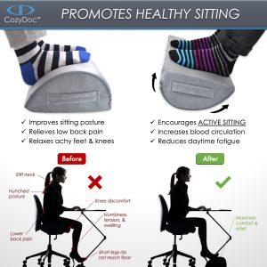 COZYDOC Ergonomic Foot Rest Cushion & Massage Ball【Gray】