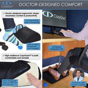 COZYDOC Ergonomic Foot Rest Cushion & Massage Ball【Black】